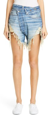 Distressed Crossover Denim Shorts