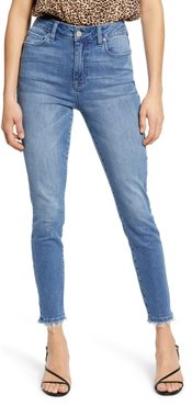 Fray Hem High Waist Skinny Jeans