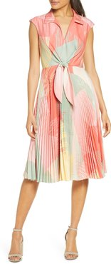 Sunburst Tie Front A-Line Dress