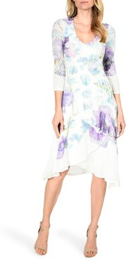 Floral Print Charmeuse Tiered Dress