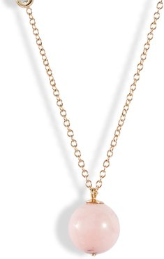 Diamond & Pink Opal Pendant Necklace