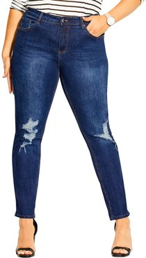 Plus Size Women's City Chic Jean Harley Distressed Skinny Jeans