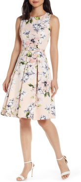 Floral Faille Fit & Flare Dress