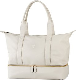 Monogram Vegan Leather Tote With Shoe Base - Grey
