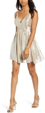 Metallic Glitter Fit & Flare Dress