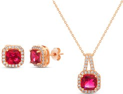 Cubic Zirconia Earrings & Necklace Set