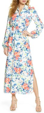 Floral Long Sleeve Shirtdress