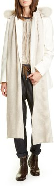 Hooded Cashmere Scarf With Genuine Goat Fur Trim