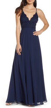 Madalyn V-Neck Lace & Chiffon Evening Dress