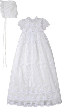 Infant Girl's Laura Ashley Embroidered Gown With Bonnet