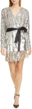 Samantha Long Sleeve Sequin Wrap Dress