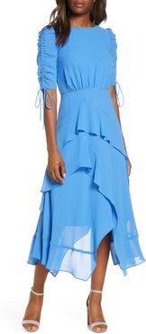 Ruched Sleeve Tiered Georgette Dress