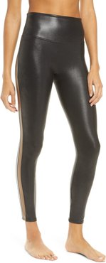 Spanx Faux Leather Track Stripe 7/8 Active Leggings