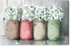 Mason Jar Muted Canvas Wall Art