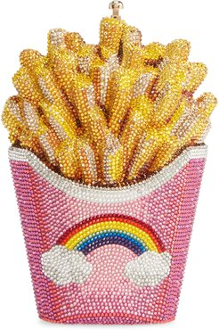 Rainbow Fries Crystal Embellished Clutch - Pink
