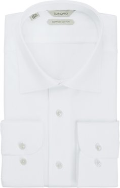 Traditional Slim Fit White Button-Up Dress Shirt