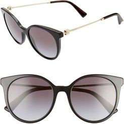 Rockstud 53mm Gradient Cat Eye Sunglasses - Black/ Gradient Black