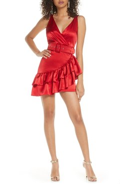 Paloma Belted Satin Minidress