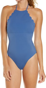 High Neck Scalloped One-Piece Swimsuit