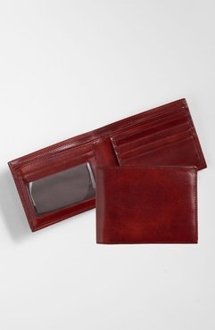 Id Flap Leather Wallet - Brown