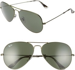 62Mm Aviator Sunglasses - Sand Transparent Green