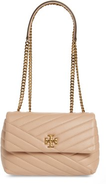 Kira Chevron Quilted Small Convertible Leather Crossbody Bag - Beige