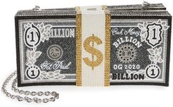 Stack Of Cash Billion Crystal Embellished Clutch - Metallic