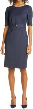 Dasteria Microcheck Belted Wool Blend Sheath Dress
