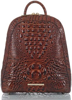 Large Rosemary Croc Embossed Leather Backpack - Brown