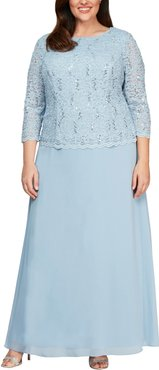 Plus Size Women's Alex Evenings Mock Two-Piece A-Line Gown