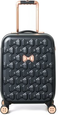 Small Beau 22-Inch Bow Embossed Four-Wheel Trolley Suitcase - Black