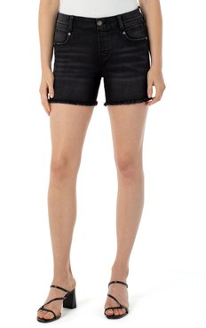 Gia Glider Fray Hem Pull-On Denim Shorts