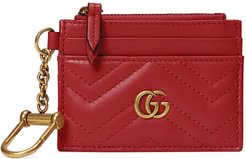 Gg 2.0 Key Chain Matelasse Leather Card Case - Red