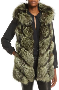 Reversible Fox-Fur & Quilted Down Vest