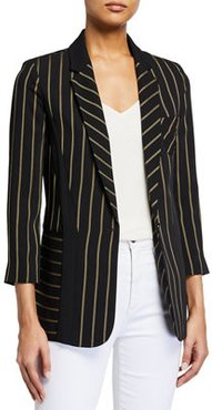 Striped Cady One-Button Relax Fit Jacket