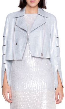 Pearlized Leather Crop Moto Jacket