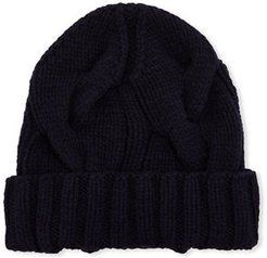 Chunky Knit Cashmere Beanie Hat