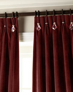 """132""""L Velvet Curtain with Asfour Crystals"""