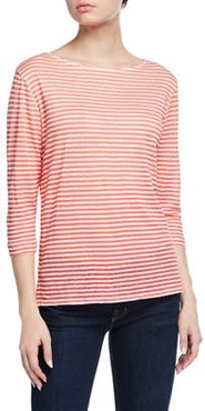 Striped Boat-Neck 3/4-Sleeve Linen Tee