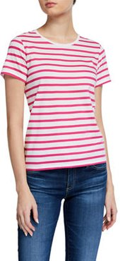 Striped Crewneck Short-Sleeve Silk Touch Cotton Tee