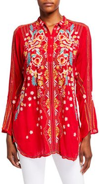 Lyndsey Multi Embroidered Long-Sleeve Collared Tunic