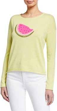 Plus Size Whatamelon Embroidered Cotton-Blend Sweater