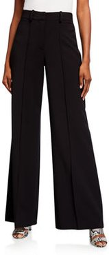 Crepe Flared-Leg Suiting Pants