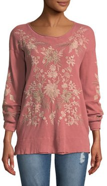 Othilia Thermal Floral-Embroidered Top