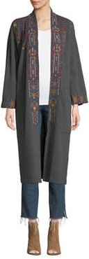 Plus Size Cleo Embroidered Long Coat