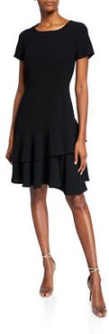 Raglan-Sleeve Crepe Dress with Double Flounce-Hem