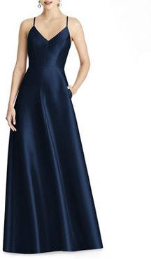 V-Neck Sleeveless Cross-Back Sateen Gown