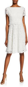 Bateau-Neck Short-Sleeve Fit-&-Flare Popover Lace Dress