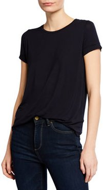 Crewneck Short-Sleeve Tee with Inverted Back Pleat