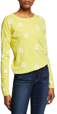 Daisy Crazy Embroidered Long-Sleeve Cotton Sweater